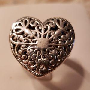 Sterling silver large heart ring